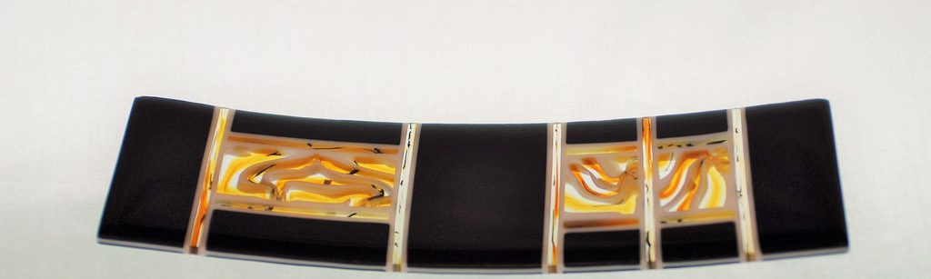 Swirling Amber and Black Decorative Fused Glass Plate