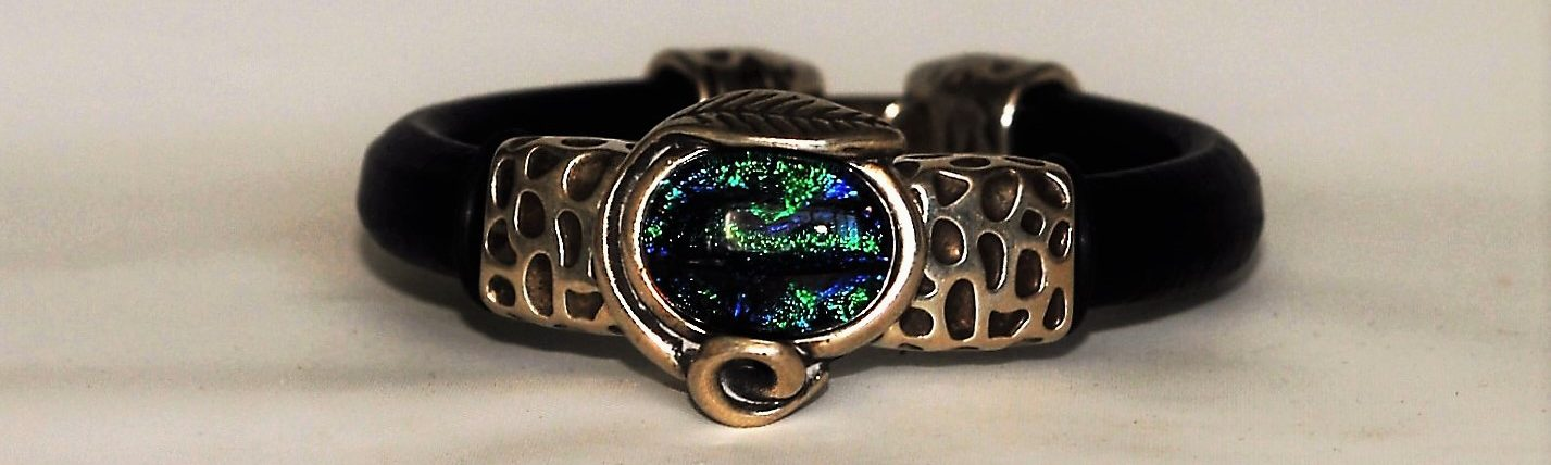 Leather Bracelet with Silver Setting and Fused Dichroic Glass Cabochon