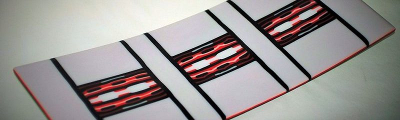 Red,White, Black Fused Glass Decorative Curved Tray